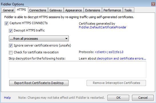 Reset Fiddler's HTTPS certificates