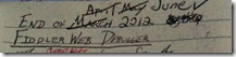 Notebook with dates crossed out