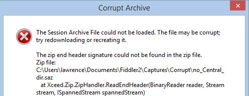 Corrupt Archive dialog