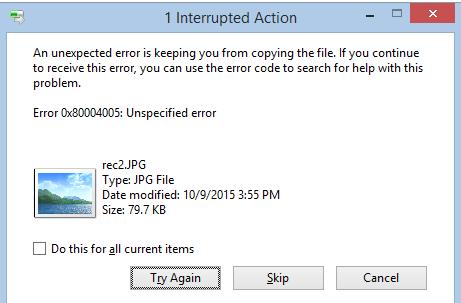Error 0x800040005 Unspecified Error when extracting