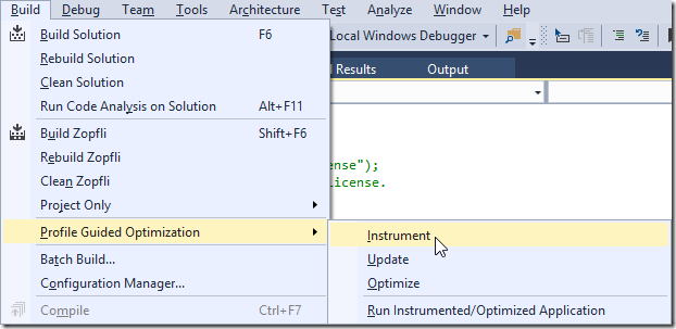 Build > Profile Guided Optimization > Instrument