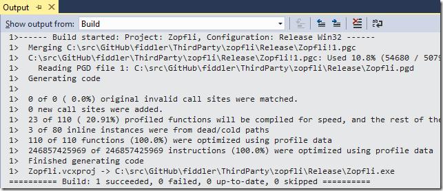 Build output shows optimizations