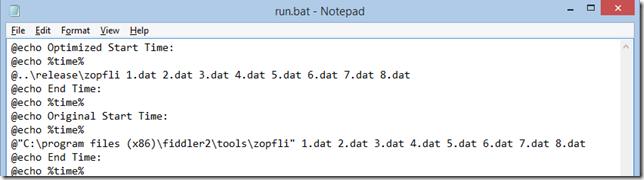 Script runs optimized and unoptimized
