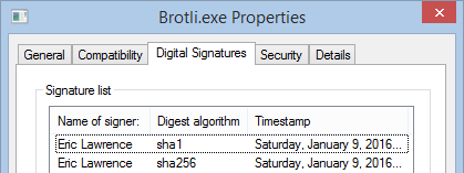 Windows File Properties show two signatures