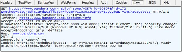 HTTPS request shown in Fiddler