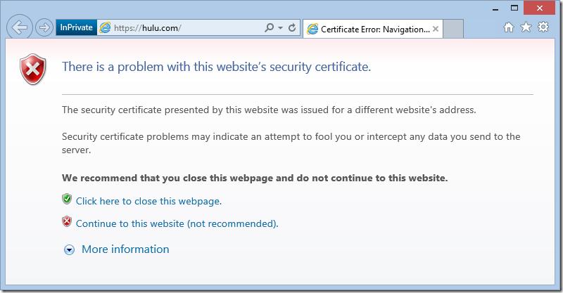 Hulu Certificate Error