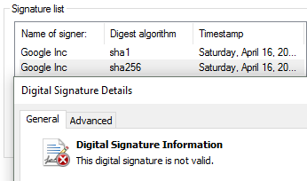 Signature Invalid