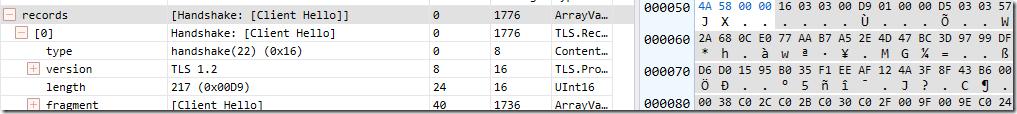 TLS 1.2 ClientHello bytes