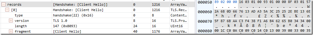 TLS 1.0 ClientHello bytes