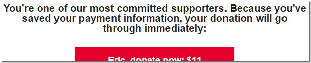 "Donations go through ""immediately"""