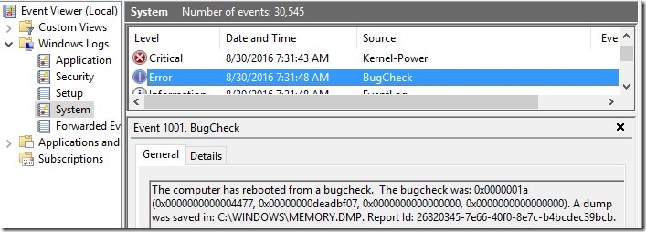 Event Viewer - Bugcheck