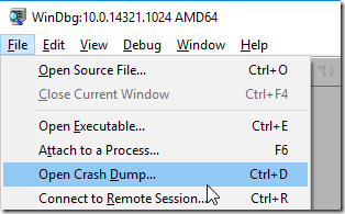 WinDBG open crash dump
