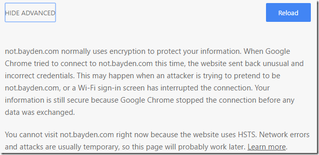Security UI in Chrome | text/plain