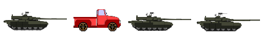 Convoy with three armored tanks and one pickup truck