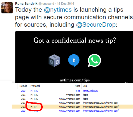 NYTimes call for Tips, showing non-secure redirects