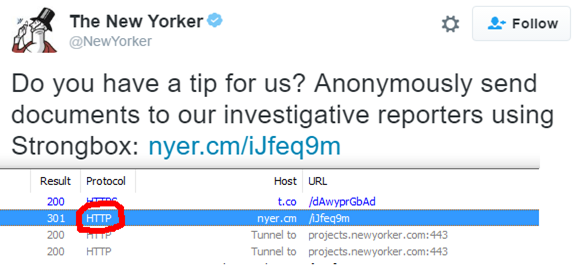 The New Yorker Magazine call for Tips, showing non-secure redirects