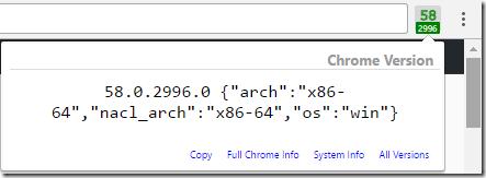 Show Chrome Version screenshot