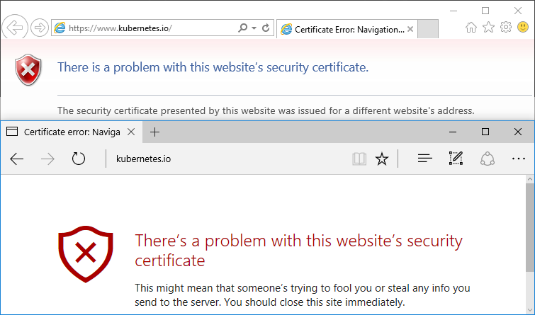 Edge and IE show Certificate Error