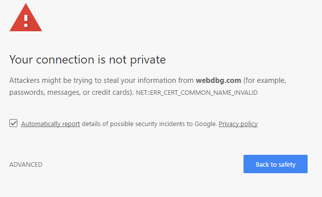 NET::ERR_CERT_COMMON_NAME_INVALID blocking page in Chrome