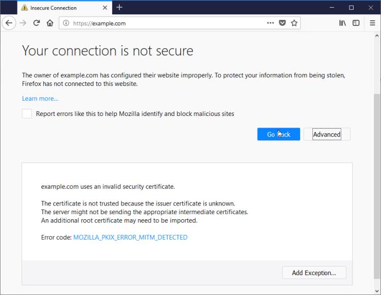 FirefoxMITMDetected